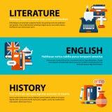 Uppsättningen av tre rengöringsdukbaner om utbildnings- och högskolaämnen i plan illustration utformar Litteratur, engelska och h Royaltyfri Fotografi
