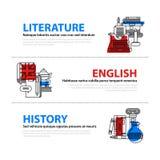 Uppsättningen av tre rengöringsdukbaner om utbildnings- och högskolaämnen i plan illustration utformar Litteratur, engelska och h Arkivfoton