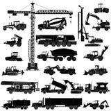 Uppsättningen av tung konstruktion bearbetar med maskin konturer, symboler som isoleras stock illustrationer