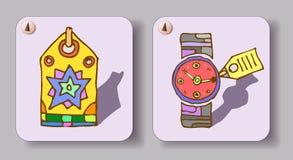 Uppsättningen av två hand-drog symboler, färg skissar retro royaltyfri illustrationer