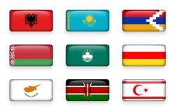 Uppsättningen av världen sjunker rektangelknappar Albanien kazakhstan Nagorno-Karabakh _ macao Södra Ossetia cyprus kenya royaltyfri illustrationer