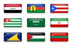 Uppsättningen av världen sjunker rektangelknappar Irak Nya Kaledonien Puerto Rico Abchazien när du stämm överens det arabia områd vektor illustrationer