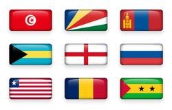 Uppsättningen av världen sjunker rektangelknappar Tunisien seychelles Mongoliet bah england Ryssland liberia chad Sao Tome royaltyfri illustrationer