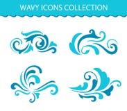 Uppsättningen av vågsymboler, lockigt vatten plaskar vektor illustrationer