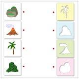 Uppsättningen av vaggar dolt med mossa, vulkanutbrottet, palmträd och Arkivfoton