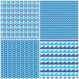 Uppsättningen av vektorblått vinkar sömlösa modeller stock illustrationer