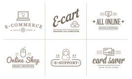 Uppsättningen av vektorE-kommers symboler som shoppar och direktanslutet, kan användas som logo royaltyfri illustrationer