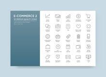 Uppsättningen av vektorE-kommers symboler som shoppar och direktanslutet, kan vara använt a royaltyfri illustrationer