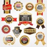 Uppsättningen av vektoremblem shoppar klistermärkear för priset för produktförsäljningen bästa och köper befordran för rabatt för Royaltyfri Bild