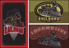 Uppsättningen av vektorn färgade mallar för affärskort med retro lokomotiv stock illustrationer