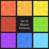 Uppsättningen av vektorn mönstrar av färgrik mosaik. Royaltyfria Foton