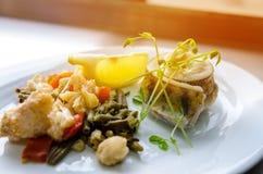 uppsättningen av vektorn skissar Den stekte fiskfilén av zander tjänade som med grönsaker Royaltyfria Bilder