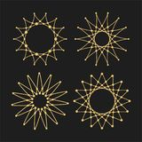 Uppsättningen av vektorn snör åt ramdesignmallar Rengöringsdukteknologi och internet Behagfull linje beståndsdelar för konstlogod royaltyfri illustrationer