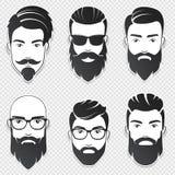 Uppsättningen av vektorn uppsökte hipstermanframsidor med olika frisyrer, mustascher, skägg Moderiktig manavatar, emblem, manlig  stock illustrationer