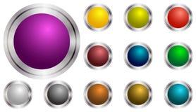 Uppsättningen av vektorrundan knäppas violeten, gräsplan, guling, blått, Arkivbilder