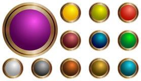Uppsättningen av vektorrundan knäppas violeten, gräsplan, guling, blått, rött som är lila, apelsin Arkivbilder