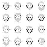 Uppsättningen av vektorsymboler på temat av skägget för man s i en olik stil, barberaren, barberare shoppar att raka i kabinen Arkivbild