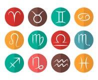 Uppsättningen av vektorzodiaktecken sänker symbolsvitbakgrund royaltyfri illustrationer