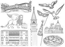 Uppsättningen av Venedig skissar också vektor för coreldrawillustration Berömda Venedig monumen vektor illustrationer