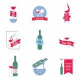 Uppsättningen av vin shoppar logoer, etiketter royaltyfri illustrationer