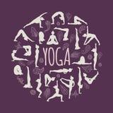 Uppsättningen av yoga poserar Royaltyfria Bilder