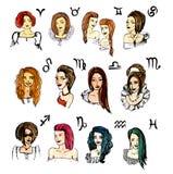 Uppsättningen av zodiak undertecknar in flickor Vattenfärgillustrationvektor Arkivbild