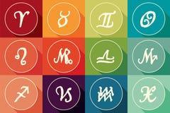 Uppsättningen av zodiak undertecknar in plan design med lång skugga Arkivfoton