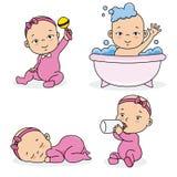Uppsättningen behandla som ett barn flickan som spelar, äter, sover och badar vektor illustrationer