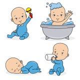 Uppsättningen behandla som ett barn pojken som spelar, äter, sover och badar vektor illustrationer
