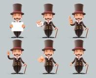 Uppsättningen engelsk 3d för mannen för viktorianska för gentlemanaffärstecknade filmen för tecken handlingar för symboler olika  vektor illustrationer