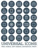 Uppsättningen för 30 alla ämnar den universella symboler för rengöringsduken, mobilen, App-danande, Royaltyfri Bild