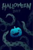 Uppsättningen 2017 för den allhelgonaaftonbakgrundsmallen, kraken gigantiska tentakel stock illustrationer