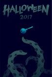 Uppsättningen 2017 för den allhelgonaaftonbakgrundsmallen, kraken gigantiska tentakel vektor illustrationer