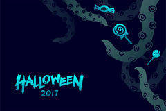 Uppsättningen 2017 för den allhelgonaaftonbakgrundsmallen, kraken gigantiska tentakel royaltyfri illustrationer