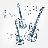 Uppsättningen för den elektriska gitarren skissar isolerade designbeståndsdelen för vektorn illustrationen royaltyfri illustrationer