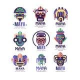 Uppsättningen för designen för Mayalogoen undertecknar den original-, emblem med den etniska maskeringen, Aztec vektorillustratio stock illustrationer