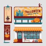 Uppsättningen för det vektorrestauranghalloween kafét shoppar den främre designen, reklamblad, Royaltyfria Bilder