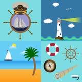 Uppsättningen för fyra hav med beskrivning av fyren, fartyg på stranden med gömma i handflatan och moln, kaptenhatt på hjulet med Fotografering för Bildbyråer