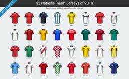 Uppsättningen för gruppen för landslagfotbollärmlös tröja 2018 resulterar den enhetliga, fotbollsspelaremodellen för din presenta vektor illustrationer