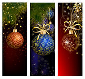 Uppsättningen för julwebsitebanret dekorerade med Xmas-trädet, klirrklockan, snöflingor och ljus Royaltyfri Fotografi