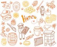 Uppsättningen för klottret för vektorhonungbeståndsdelen med bikupan, beekeeper, blommar Royaltyfri Fotografi