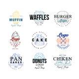 Uppsättningen för matlogodesignen, muffin, dillandear, hamburgaren, kakan, hotdogen, pannkakor, munk, chiken, iscrememblem för ka vektor illustrationer