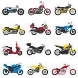 Uppsättningen för motorcycling för illustrationen för motorcykelvektormopeden och för avbrytaren för transport för bilismcirkuler stock illustrationer