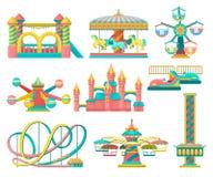 Uppsättningen för nöjesfältdesignbeståndsdelar som är glad går rundan, den uppblåsbara trampolinen, fritt falltornet, slotten, ka stock illustrationer