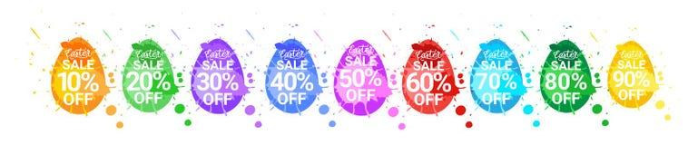 Uppsättningen för påskSale klistermärkear av ägg med ferie för design för målarfärgfärgstänkbakgrund avfärdar tecken vektor illustrationer