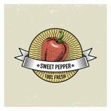 Uppsättningen för sötsak- och chilipeppartappning av etiketter, emblem eller logoen för vegeterian mat, inristade grönsaker räcke vektor illustrationer