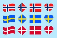 Uppsättningen för Skandinavian landsflaggor vektor Danmark Norge, Sverige nationsflaggasamling Lägenhet isolerade symboler, tradi Stock Illustrationer
