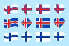 Uppsättningen för Skandinavian landsflaggor vektor Del 2 Island Finland, Faroe Island nationsflaggasamling plant Vektor Illustrationer