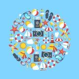 Uppsättningen för sommarvektorsymbolen, grafiska beståndsdelar och symboler i cirkel formar vektor illustrationer