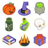 Uppsättningen för symboler för den isometriska häxan för 3d som halloween planlägger den magiska framlänges isoleras, linjen kons Royaltyfri Fotografi